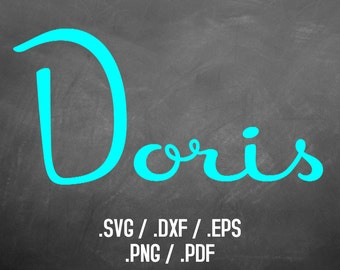 Doris Font Design Files For Use With Your Silhouette Studio Software, DXF Files, SVG Font, EPS Files, Svg Fonts, Retro Curly Silhouette