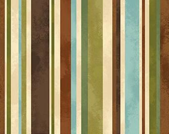 Northcott - Mountain Springs Wilderness Stripe 21321-12 / Brown, Teal, Green, Cream, Olive Stripe Fabric