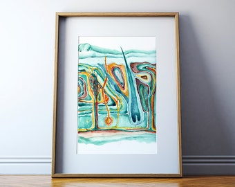Cross Section of the Skin Watercolor Art Print - Integumentary System - Skin Art - Histology Art - Epidermis Art - Anatomy Art