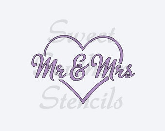Mr. & Mrs. in Heart Stencil