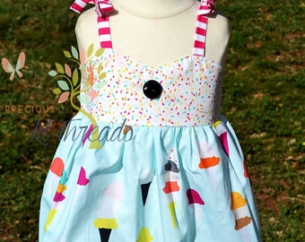 Baby-Toddler- Infant - Girls- Ice Cream Cone Sprinkles Dress- Ice Cream Birthday- Ice Cream Cone Dress- size 12m, 18m, 2t, 3t, 4, 5, 6, 7,8