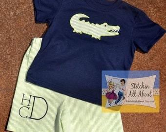 Boys Alligator Tee- Baby Boys Alligator Shirt- Toddler Boys Alligator Applique Shirt- Monogram Shorts- Short Set- 6m,12m,18m,2t,3t,4t,5,6