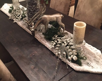 Faux Fur Table Runner - Holiday Table Runner - Luxury Table Linens - Christmas Table Linens, Snow Leopard White