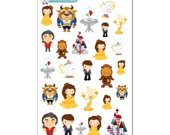 Beauty and the Beast Stickers - Disney Planner Stickers