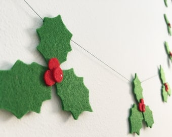 Christmas holly Christmas garland Christmas decoration Holiday season Holly leaves Christmas bunting Christmas ornament Wall decor Gift idea