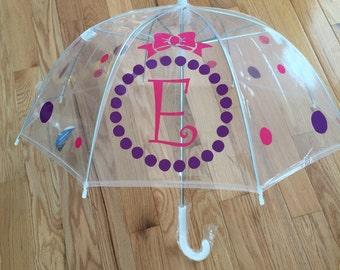 Monogrammed umbrella, adult & child size, personalized Umbrella, great gift Monogram Umbrella clear dome