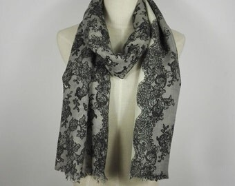 Black Lace Scarf Black Floral Scarf Wool Scarf Black Scarf Pure Wool Scarf Black Wool Scarf Gift For Her Lace Scarf Gift For Mom Black Shawl
