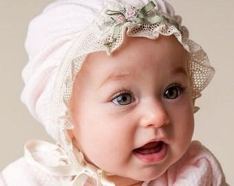 Pink Cotton Ruffled Bonnet - Natalie Collection