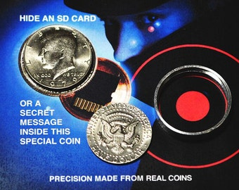 Secret Spy Coin - Half Dollar with Hollow Hidden Compartment - Hide Something Inside