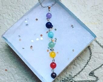 Item 128, Chakra Necklace, Chakra, Chakras, Silver, Necklace, Reiki, chakra stones, jewelry