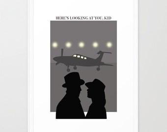 Casablanca poster-Bogart-Ingrid Bergman print-Cinema lover Decorative Print-Eiffel Tower print-Colourful Paris poster-Cool Large Print