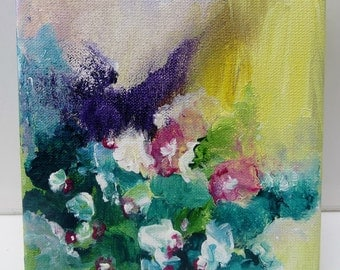 Miniature Painting, Acrylic Painting Canvas Art, Abstract Floral, Original Artwork