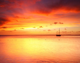 Fine Art Photography | Sky, ocean, sunset, red, yellow, boat, horizon, Decor, Seascape, Sailing, scarlet sky, red sky, dreamy image