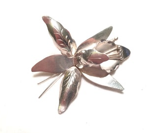 Vintage mexico 925 sterling silver Orchid / flower pin brooch th-04