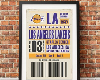 Los Angeles Lakers Ticket Poster