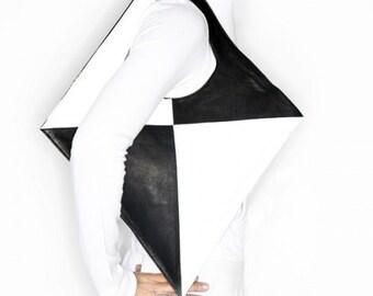 Tawapa Deer Hart Leather Black/White Leather Queen of Diamonds Purse