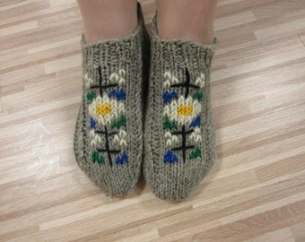 Women's Wool Slippers, Hand Knit Slippers,House Shoes, Unique Embroidery Slippers, Folklore Slippers, Knitted Socks, Christmas Gift