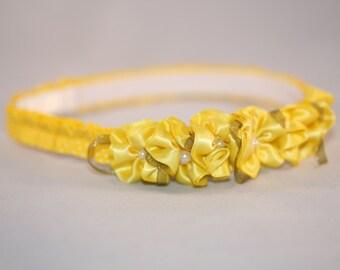Yellow Flowered Headband (18-24 months)