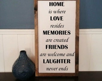 Home is where Love resides Memories are created Friends are welcome and Laughter never ends- Rustic Wood Sign with Wood Trim - Black/White