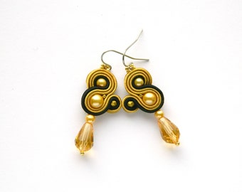 Golden earrings, black earrings, golden crystals, drop earrings, golden dangle, golden soutache, colored earrings