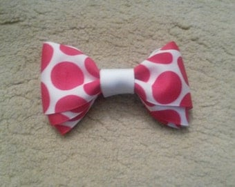 Medium Sized Red & White Polka Dots Hair Bow