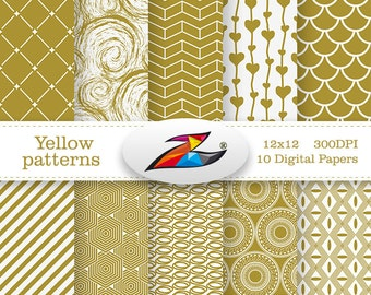 Sale Yellow gold Digital Paper Commercial Use Yellow white scrapbook paper geometric pattern invitation background Printable Paper