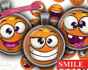 "Digital Collage Sheet Smile whatsapp 1 inch Circles 1.5"", 1.25"", 30mm 25 mm Instant Download Pendants, Bottle Caps Digital collage td385"