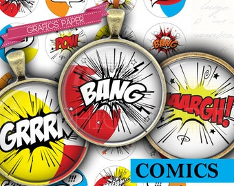 "Noise comics superhero cartoons digital collage sheet 1.5"", 1.25"", 30mm, 1 inch Circle images for Bottle caps Pendants images - td399"