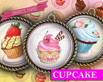 """Cupcake, cakes baked - digital collage sheet - td152 - 1.5"""", 1.25"""", 30mm, 1 inch - Images for Glass & Resin Pendants Cameo, download, caps"""