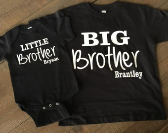 Personalized Big brother Little brother BLACK Shirt Set