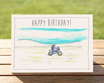 """Motorcycle Birthday Card - Adventure I A6 Measures: 6"""" x 4"""" / 103mm x 147mm   > BONUS - Buy 3 Cards, Get 1 more for FREE"""