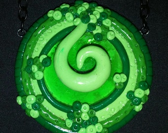 Green Cabachon and Polymer Clay Pendant Necklace