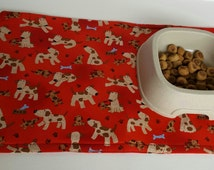 Red Dog Print Placemat, Pet Bowl Mat, Red Dog Feeding Mat, Dog Food Mat, Reversible, Machine Wash/Dry, Dog Supplies