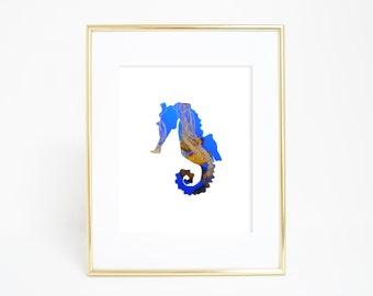 Seahorse Print, Seahorse Wall Decor, Digital Print, Instant Download, Seahorse Wall Art, Jellyfish, Wall Art, Beach House Decor, Nursery Art