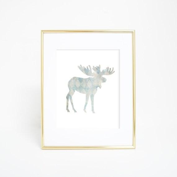 Moose Print, Moose Art, Moose Wall Print, Instant Download, Woodland Nursery, Nursery Decor, Moose Artwork, Nursery Wall Art, Wall Prints
