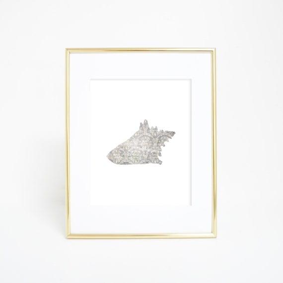 Conch Print, Coastal Decor, Seashell Print, Bathroom Decor, Shell Wall Art, Nautical Prints, Shell Print, Beach House Decor, Beach Printable