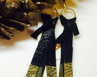 Cut leather gold dipped earrings