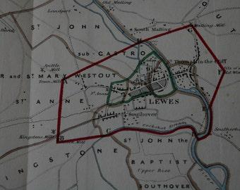Lewes Parliamentary  Map circa 1832
