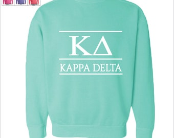 kappa delta kd sorority comfort color greek letters sweatshirt choose your color