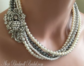 Chunky Grey Pearl Necklace Set with Earrings and Brooch. The perfect Mother of Bride wedding jewelry in Gray and Ivory Swarovski Pearls