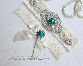 Teal Blue Wedding Garter, Teal Blue Bridal Garter Set, Stretch Lace Garter, Crystal Pearl Garter, Vintage Garter, Wedding Garter Belt-