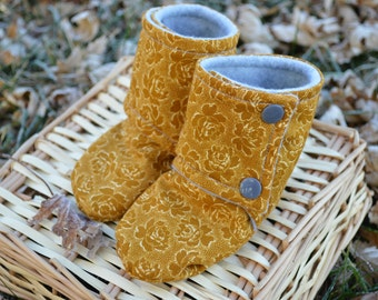 Gold Rose Baby Bootie