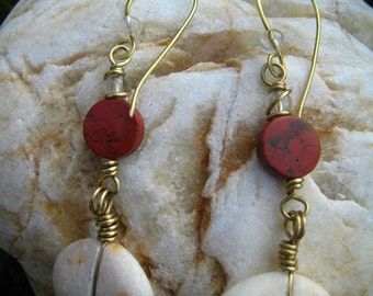 Medium length, dangle earrings with pebbles