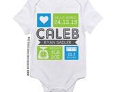 Birth Stat Infant Bodysuit Blue & Green
