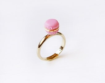 Elfi Handmade Cute Pink Macaron Ring, Miniature Dessert Food Jewelry, Macaron Ring, Cute Ring, Christmas Gifts, Best Selling, Lolita, Kawaii