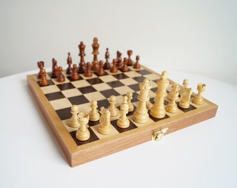 German Chess Set with Wooden Pieces Chess Board Chess Pieces Vintage Chess in Original Box