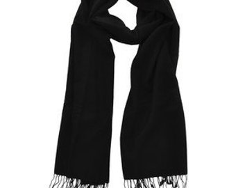 BLACK-Pashmina-Premium Quality 70 % & Silk -Hand Made in Nepal-Pashmina-Shawl-Scarf-blanket scarf-Wrap-Soft-Warm-Gift-