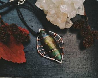 Labradorite copper caged Necklace