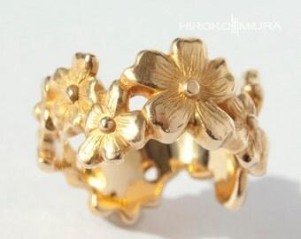 "Ring ""Cherry blossoms"" Or yellow 18 k Creation HIROKO MIURA handmade wedding, engagement, for her."