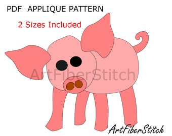 Piglet PDF Applique Template Pattern - available for instant download from ArtFiberStitch